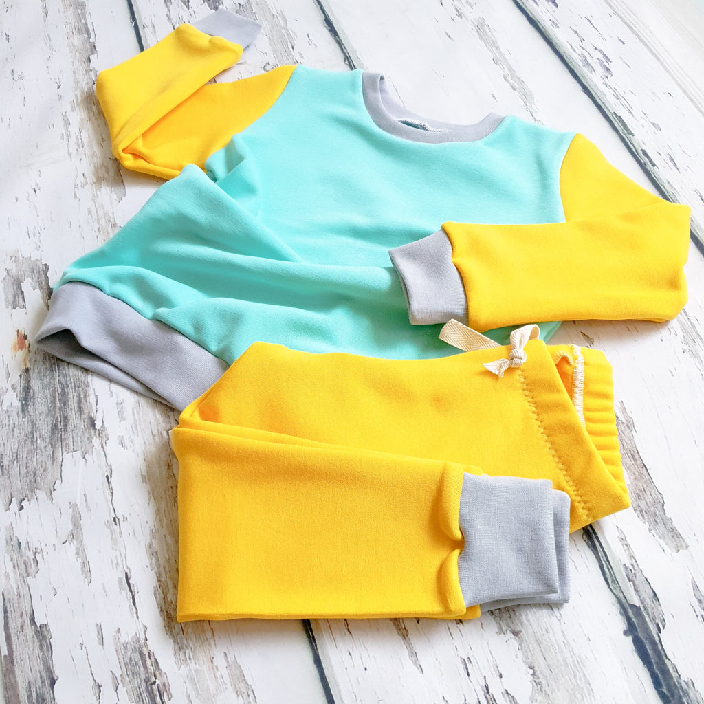Mint and Yellow ColourBlok Loungewear by Lottie & Lysh