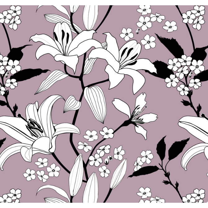 Mauve lily organic jersey fabric at Lottie & Lysh