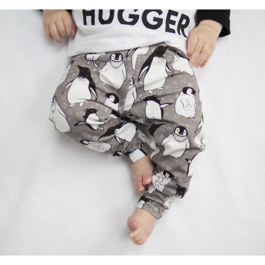 organic penguin leggings for children and babies handmade by Lottie & Lysh in Cornwall