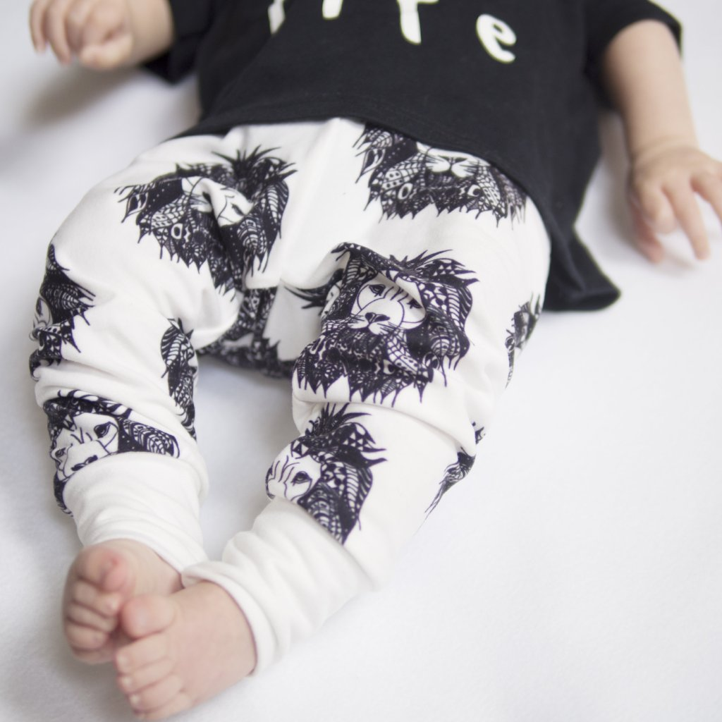 monochrome aztec lion print child and baby leggings with coordinating bandana bib