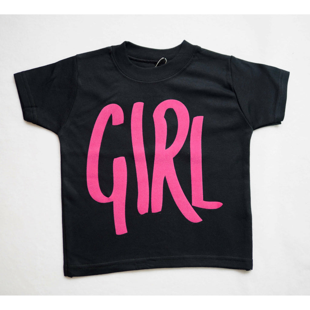 girl slogan tshirt with pink writing