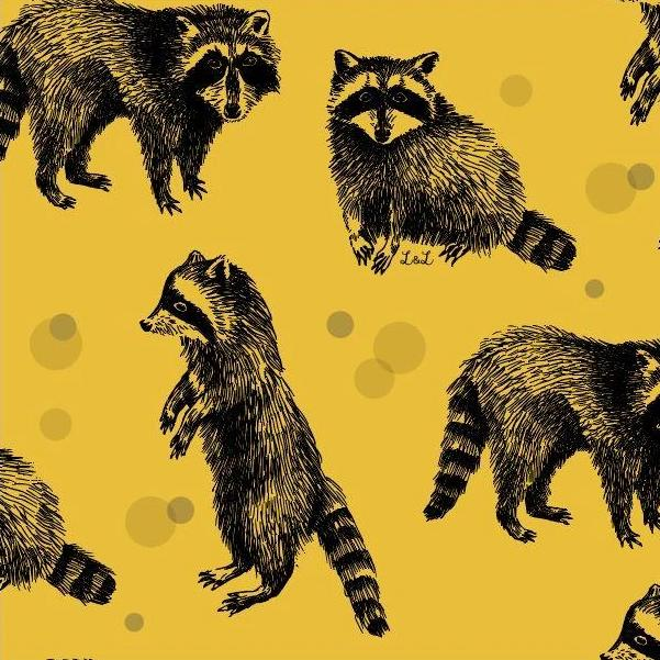 mustard raccoon organic jersey fabric by lottie and lysh