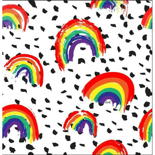 organic rainbow print jersey fabric for children and babies clothing by lottie & lysh