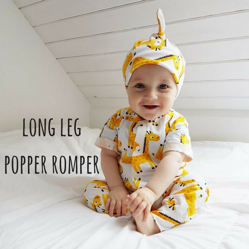 Design your own clothing with Lottie & Lysh. Long leg popper romper for babies and children