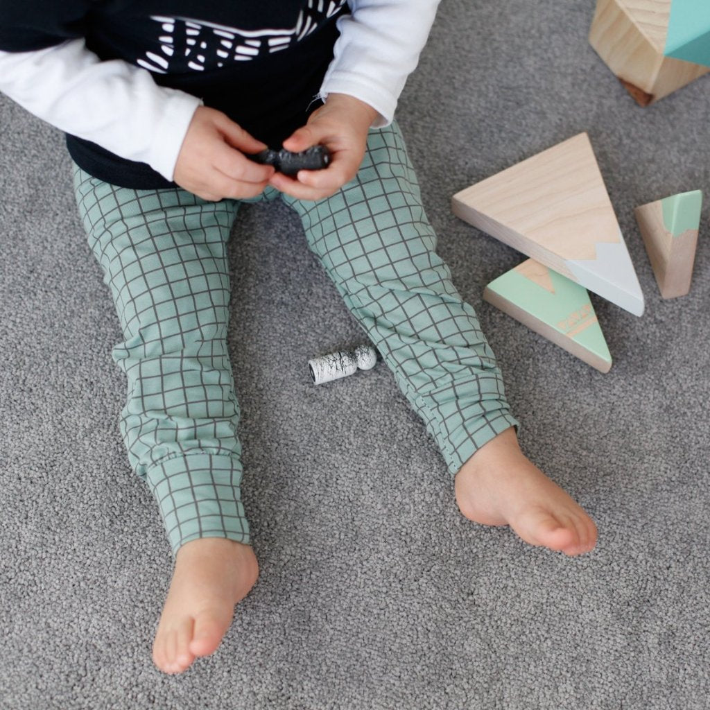 sage gridlock baby and toddler leggings by lottie & lysh