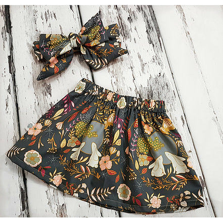 Autumn Glow Child and Baby Skirt and Bow set by Lottie & Lysh