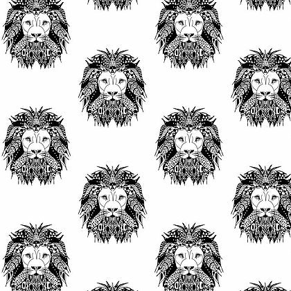 Monochrome aztec lion pattern design exclusive to lottie and lysh