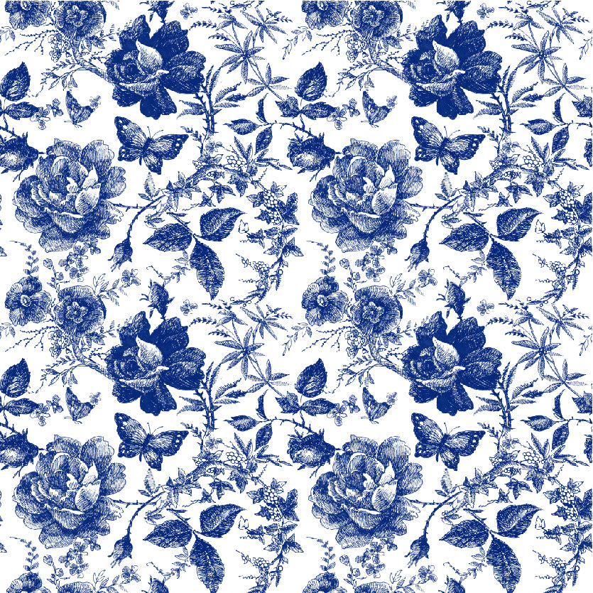 Blue floral edgewood style jersey fabric by Lottie & Lysh