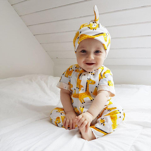 giraffes romper and hat set