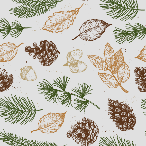Organic Festive Leaves winter weight jersey fabric designed by lottie & lysh