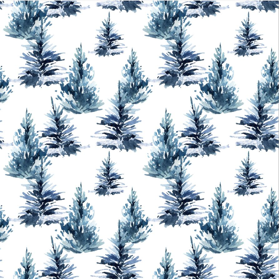 inky trees jersey on a white background with blue print