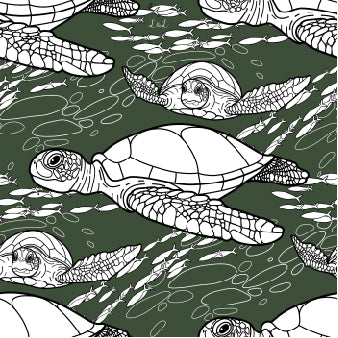 Organic jersey fabric featuring hawk-bill turtles swimming against a green background