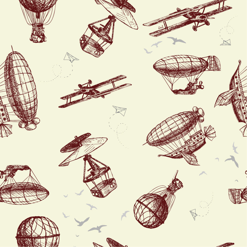 Exclusive vintage modes of air travel printed jersey fabric. Organic.