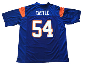 Blue Thad Castle 54 Blue Mountain State FOOTBALL THROWBACK MOVIE JERSEY