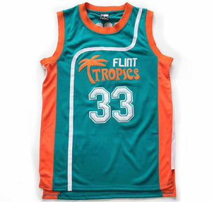 TEAL JACKIE MOON #33 FLINT TROPICS BASKETBALL THROWBACK MOVIE JERSEY