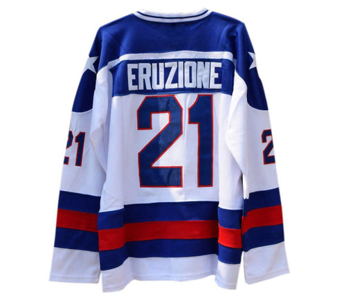 WHITE MIKE ERUZIONE #21 MIRACLE ON ICE HOCKEY THROWBACK MOVIE JERSEY