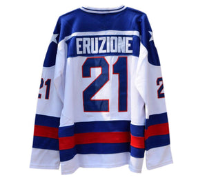 WHITE MIKE ERUZIONE #21 MIRACLE ON ICE HOCKEY THROWBACK MOVIE JERSEY - ThrowbackJerseys.com
