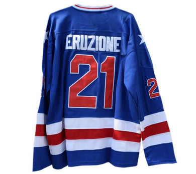BLUE MIKE ERUZIONE #21 MIRACLE ON ICE HOCKEY THROWBACK MOVIE JERSEY