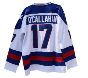 WHITE JACK O'CALLAHAN #17 MIRACLE ON ICE HOCKEY THROWBACK MOVIE JERSEY
