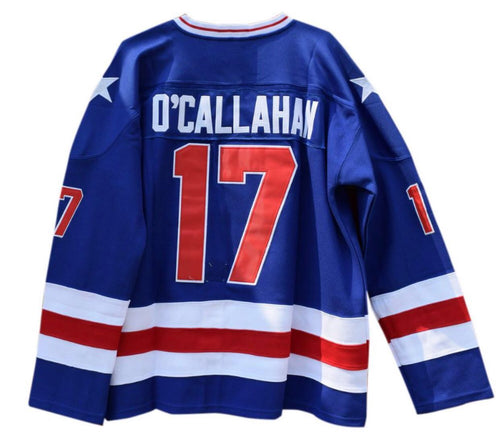 BLUE JACK O'CALLAHAN #17 MIRACLE ON ICE HOCKEY THROWBACK MOVIE JERSEY - ThrowbackJerseys.com
