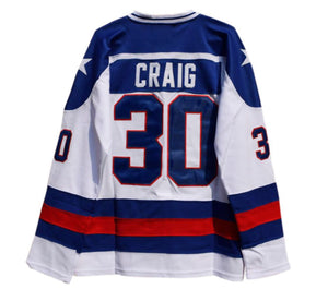 WHITE JIM CRAIG #30 MIRACLE ON ICE HOCKEY THROWBACK MOVIE JERSEY