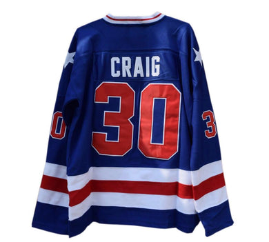 BLUE JIM CRAIG #30 MIRACLE ON ICE HOCKEY THROWBACK MOVIE JERSEY
