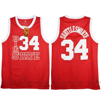 RED BIG STATE #34 SHUTTLESWORTH BASKETBALL THROWBACK MOVIE JERSEY - ThrowbackJerseys.com
