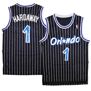"BLACK PINSTRIPED ORLANDO ""HARDAWAY"" #1 BASKETBALL THROWBACK JERSEY - ThrowbackJerseys.com"