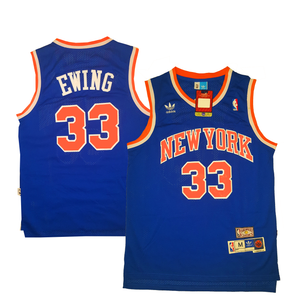 "BLUE NEW YORK ""EWING"" #33 BASKETBALL THROWBACK JERSEY - ThrowbackJerseys.com"