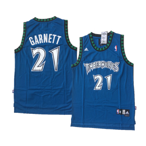 "BLUE MINNESOTA ""GARNETT"" #21 BASKETBALL THROWBACK JERSEY - ThrowbackJerseys.com"