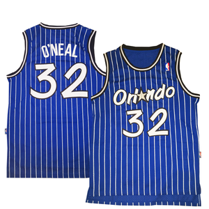"BLUE PINSTRIPED ORLANDO ""O'NEAL"" #32 BASKETBALL THROWBACK JERSEY - ThrowbackJerseys.com"