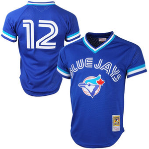 "BLUE TORONTO ""ALOMAR"" #12 BASEBALL THROWBACK JERSEY - ThrowbackJerseys.com"