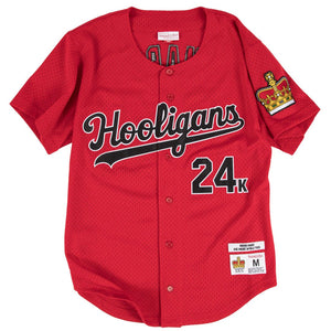 RED PINSTRIPED  HOOLIGANS #24K MARS BASEBALL MUSIC THROWBACK JERSEY