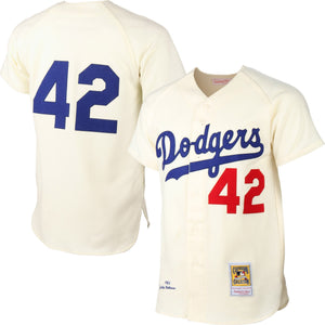 "CREAM BROOKLYN ""ROBINSON"" #42 BASEBALL THROWBACK JERSEY - ThrowbackJerseys.com"