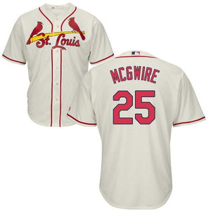 "CREAM ST. LOUIS ""MCGWIRE"" #25 BASEBALL THROWBACK JERSEY - ThrowbackJerseys.com"