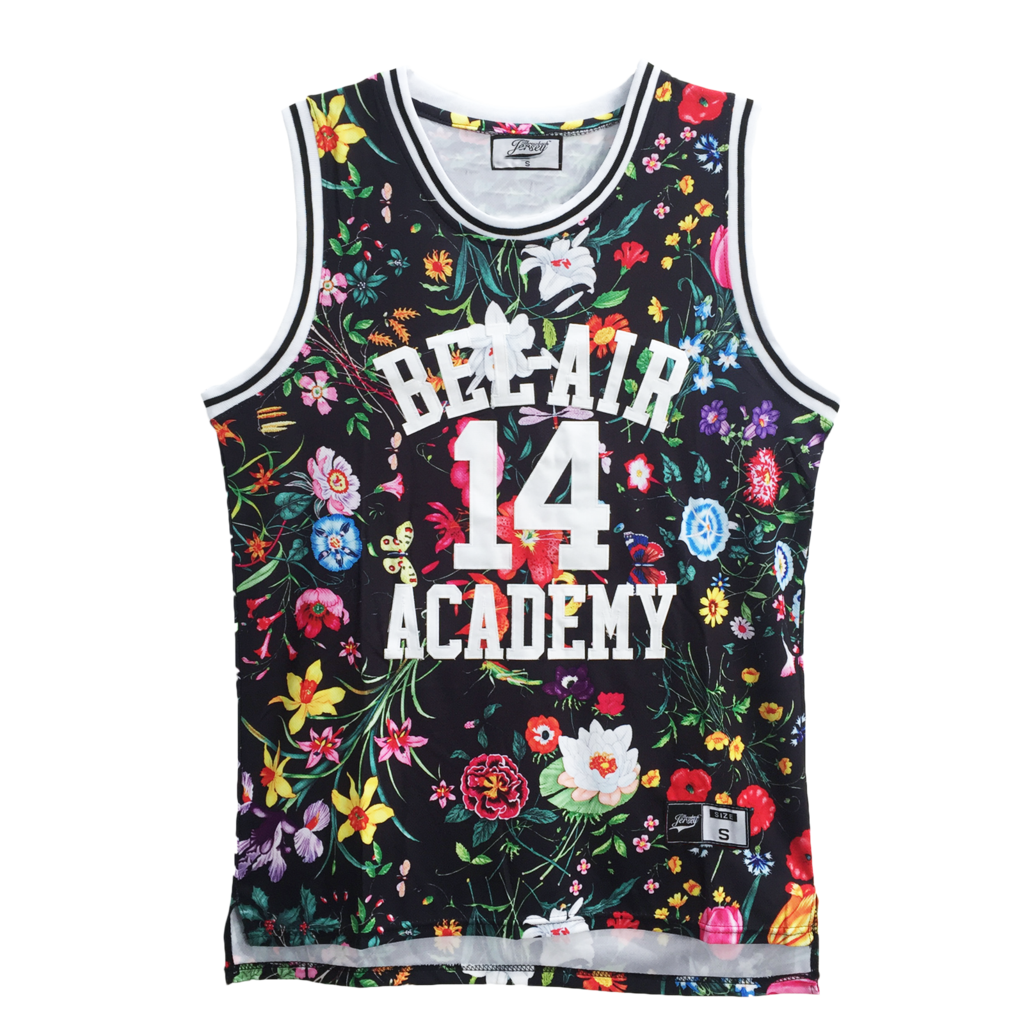 FLORAL BLACK FRESH PRINCE OF BEL-AIR JERSEY WILL SMITH #14 BASKETBALL THROWBACK JERSEY