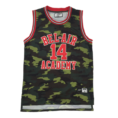 GREEN CAMOFLAUGE FRESH PRINCE OF BEL-AIR JERSEY WILL SMITH #14 BASKETBALL THROWBACK JERSEY
