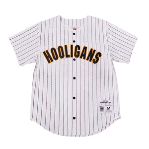 WHITE PINSTRIPED  HOOLIGANS #24K MARS BASEBALL MUSIC THROWBACK JERSEY