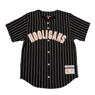 BLACK PINSTRIPED  HOOLIGANS #24K MARS BASEBALL MUSIC THROWBACK JERSEY