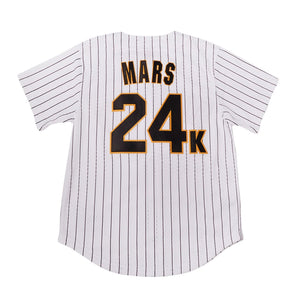 WHITE PINSTRIPED  HOOLIGANS #24K MARS BASEBALL MUSIC THROWBACK JERSEY - ThrowbackJerseys.com