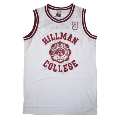 WHITE HILLMAN COLLEGE #9 WAYNE BASKETBALL THROWBACK MOVIE JERSEY