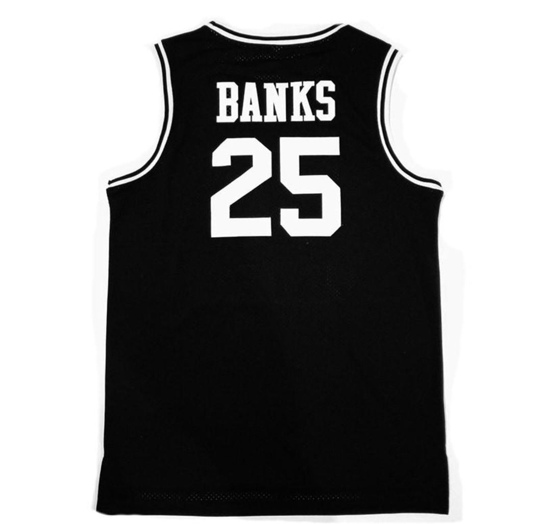 BLACK FRESH PRINCE OF BEL-AIR JERSEY CARLTON BANKS #25 BASKETBALL THROWBACK JERSEY