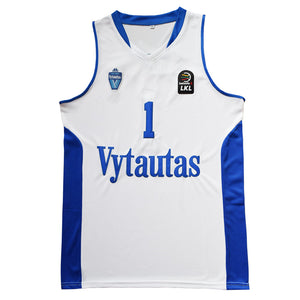 WHITE LAMELO #1 LITHUANIA VYTAUTAS BASKETBALL THROWBACK MOVIE JERSEY