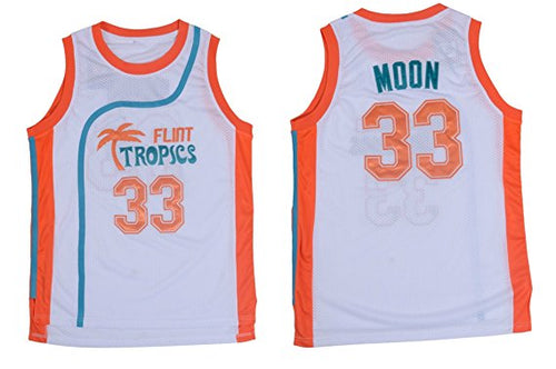 WHITE JACKIE MOON #33 FLINT TROPICS BASKETBALL THROWBACK MOVIE JERSEY - ThrowbackJerseys.com