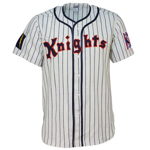 WHITE AND NAVY PINSTRIPE #9 KNIGHTS RETRO BASEBALL THROWBACK MOVIE JERSEY
