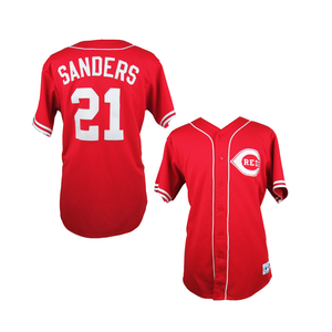 "RED CINCINNATI ""SANDERS"" #21 BASEBALL THROWBACK JERSEY - ThrowbackJerseys.com"