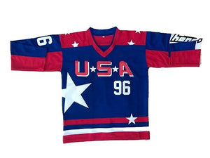 "RED WHITE AND BLUE USA MIGHTY DUCKS ""CONWAY"" #96 HOCKEY THROWBACK MOVIE JERSEY"