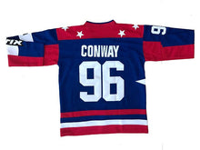 "RED WHITE AND BLUE USA MIGHTY DUCKS ""CONWAY"" #96 HOCKEY THROWBACK MOVIE JERSEY - ThrowbackJerseys.com"