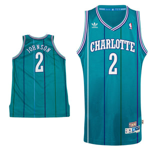 "TEAL CHARLOTTE ""JOHNSON"" #2 BASKETBALL THROWBACK JERSEY - ThrowbackJerseys.com"