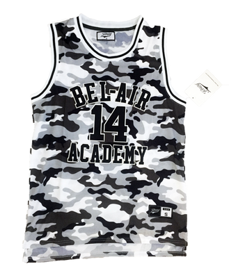 WHITE CAMOFLAUGE FRESH PRINCE OF BEL-AIR JERSEY WILL SMITH #14 BASKETBALL THROWBACK JERSEY